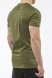 army-green tapered fit cotton t-shirt iron bull strength