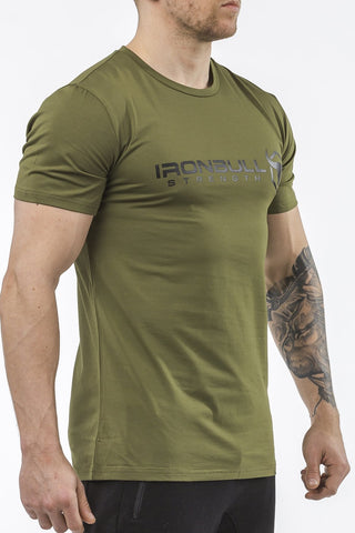 army-green classic series cotton t-shirt iron bull strength