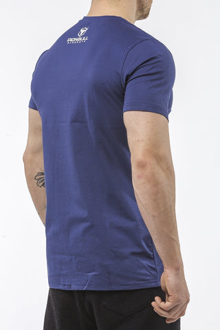 navy-blue tapered fit cotton t-shirt iron bull strength