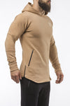 tan pullover hoodie with zip iron bull strength