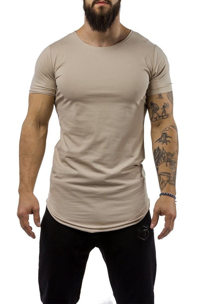 tan workout t-shirt scoop neck casual wear