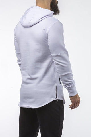 white tapered fit hoodie bodybuilder strongman