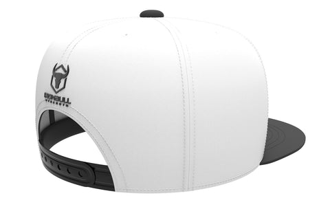 white-black adjustable snapback iron bull strength