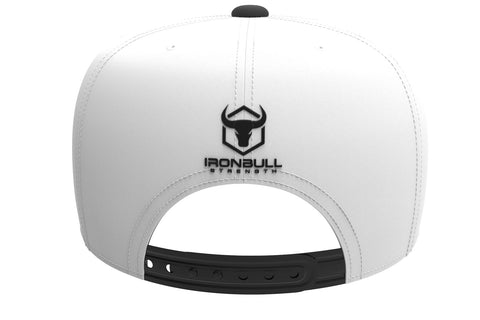 white-black snapback iron bull strength