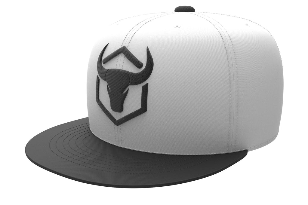 white-black acrylic snapback iron bull strength