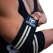 black-white elbow compression wraps
