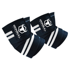 black-white iron bull strength elbow wraps for bench press