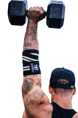 black-white elbow wraps for shoulder press