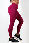 burgundy stretchy women's premium joggers