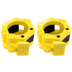yellow nylon barbell collars pair