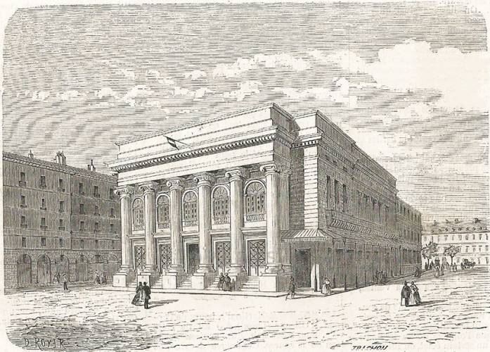 Period engraving of the Opéra-Comique or second Salle Favart in its full glory in 1864