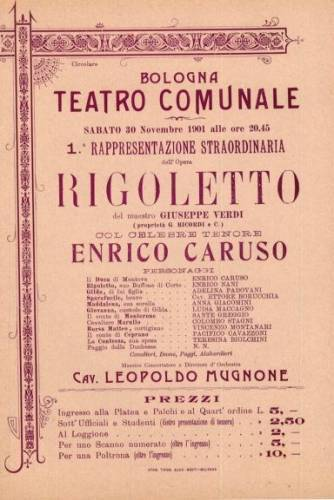 playbill from 1901 announcing a performance of Rigoletto (Verdi) in Bologna