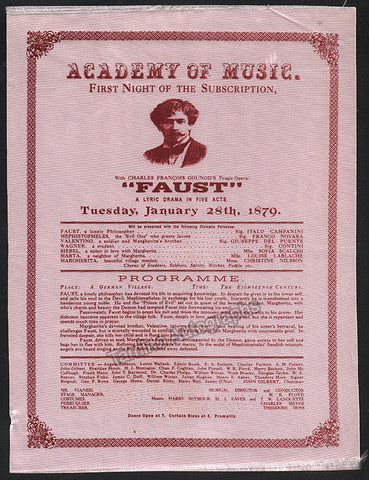 The Academy of Music Playbill for Faust in 1879