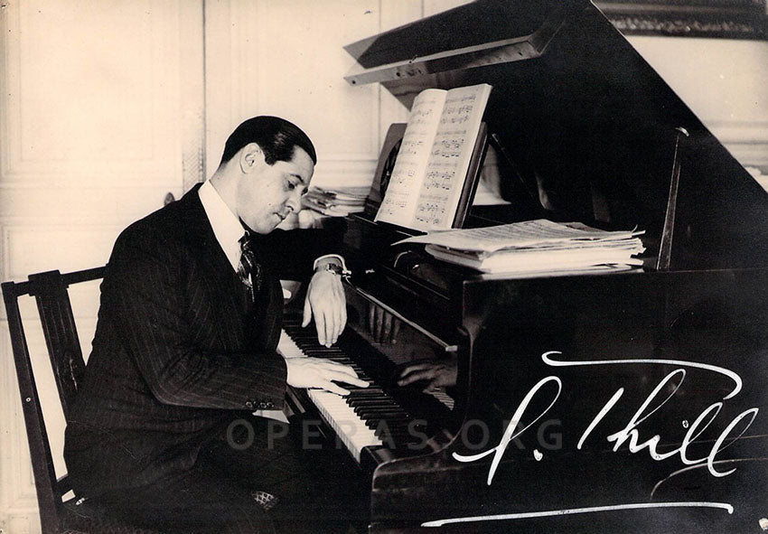 Georges Thill (1897-1984) at home, rehearsing at the piano