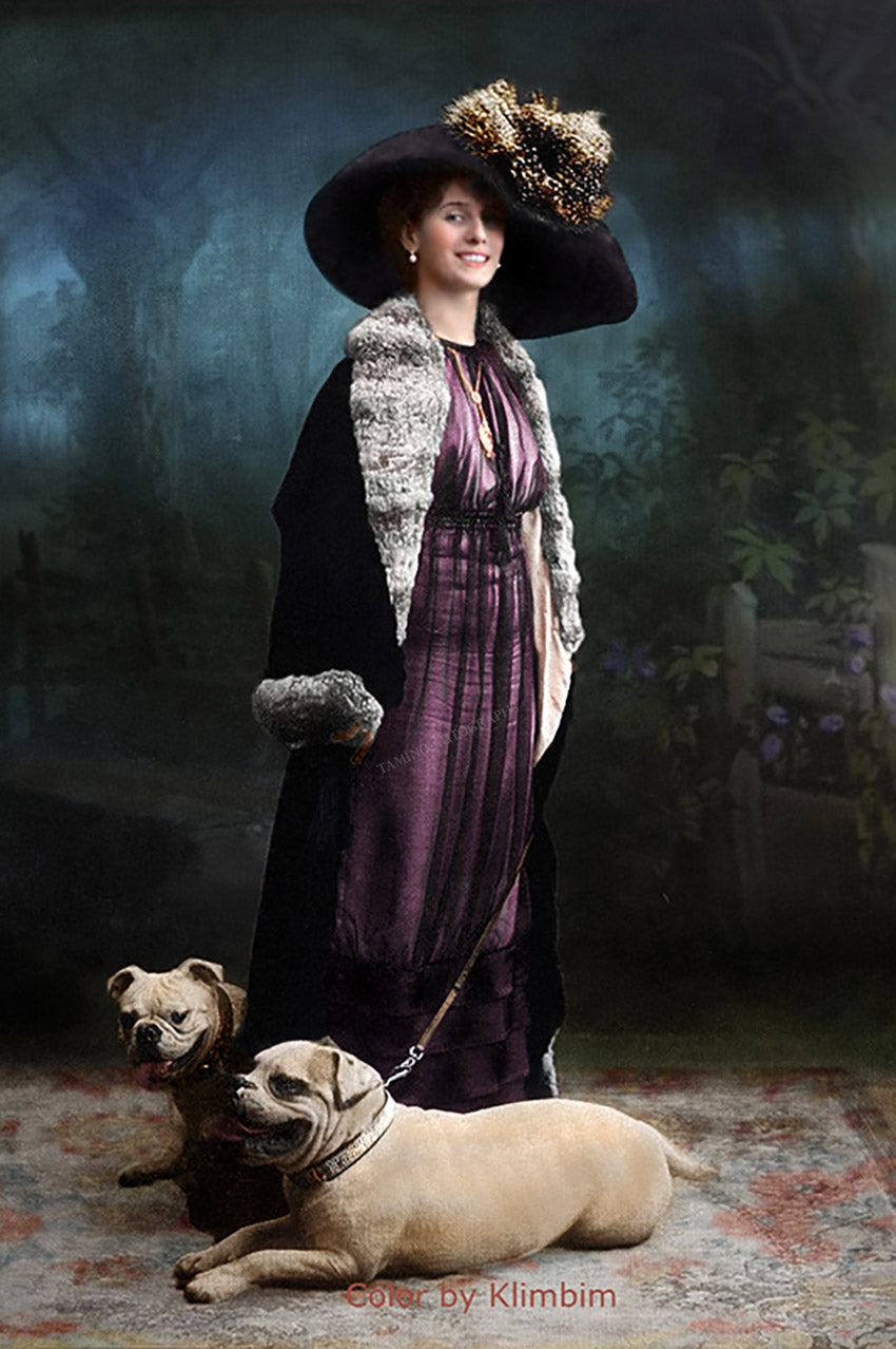 Anna Pavlova with her dogs