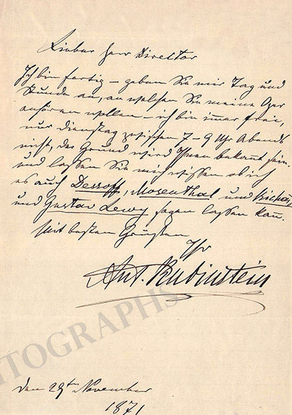 Anton Rubinstein autograph letter signed about The Demon