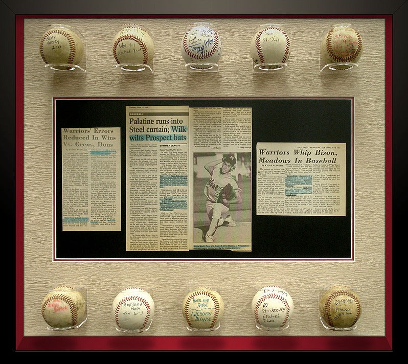 framed signed baseball balls
