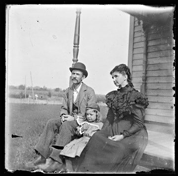Gelatin Dry Plate - Family on porch