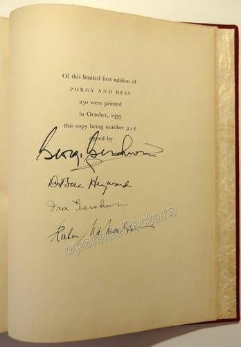 George Gershwin signed Porgy and Bess score 1st Edition