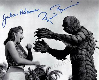 Julie Adams and Ricou Browning signed photo Creature Black Lagoon M6871_WM