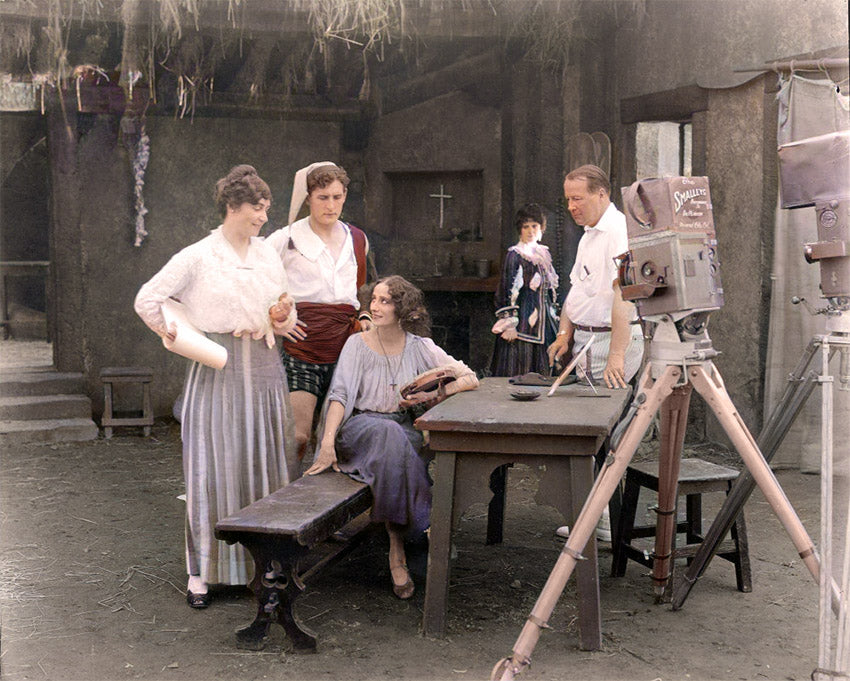 Lois Weber (left) on the set of The Dumb Girl of Portici (1916)_ with star Anna Pavlova