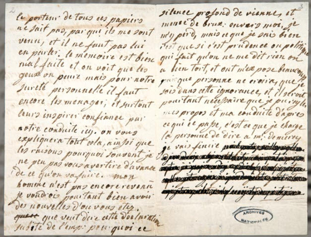 One of the copies of Marie Antoinette´s letters