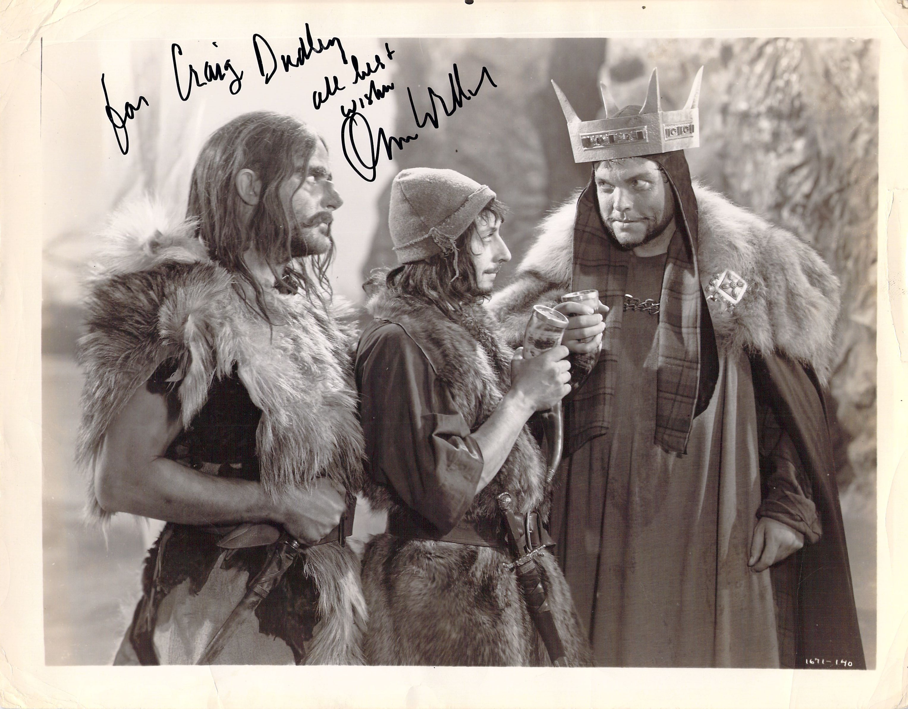 Orson Welles signed photo in Macbeth