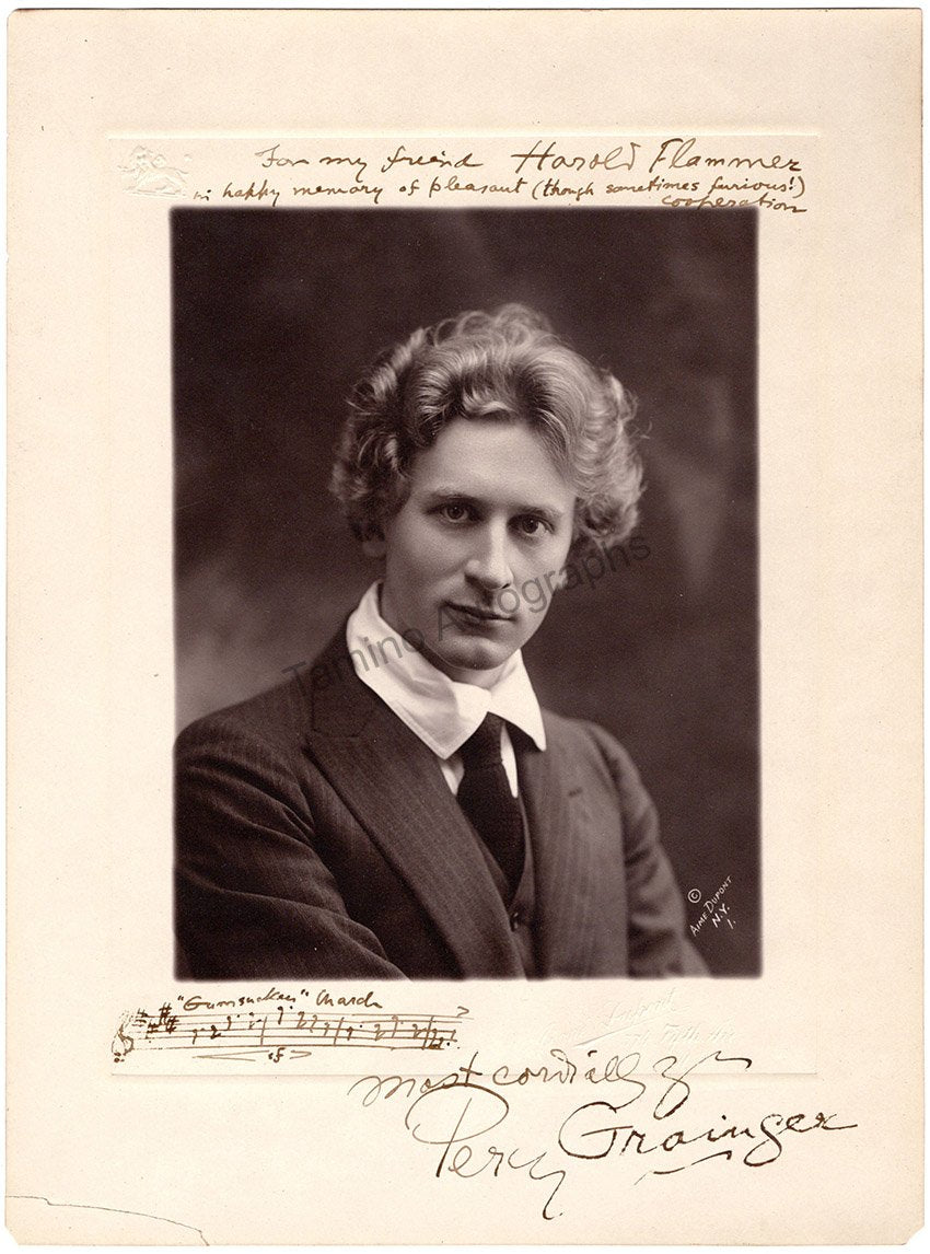 Percy Grainger - large signed photo with music quote