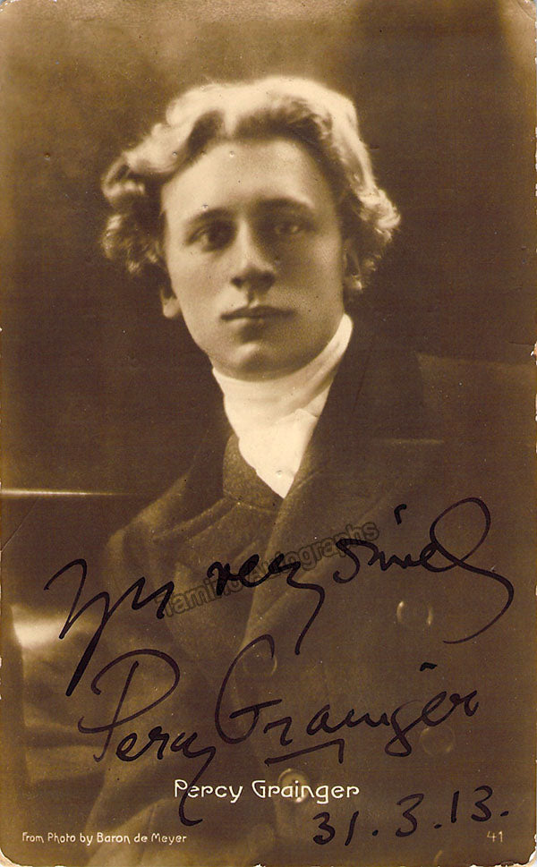 Percy Grainger signed photo young