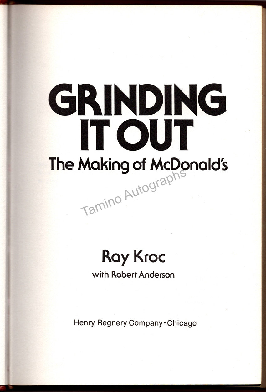 """Kroc, Ray A. - Signed Book """"Grinding it Out - The Making of McDonald´s"""""""