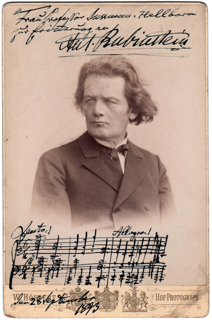 Anton Rubinstein signed cabinet photo with music quote N4708