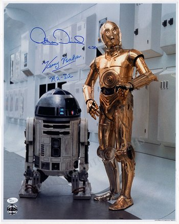 Star Wars signed Photo - Kenny Baker R2-D2 and Anthony Daniels C-3PO