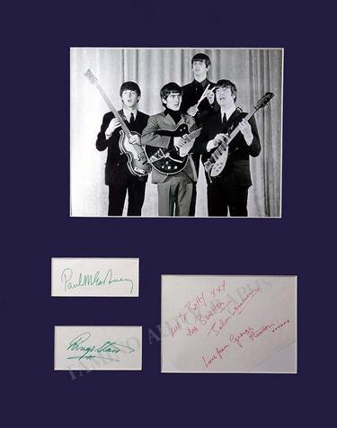 The Beatles signatures by all with photo
