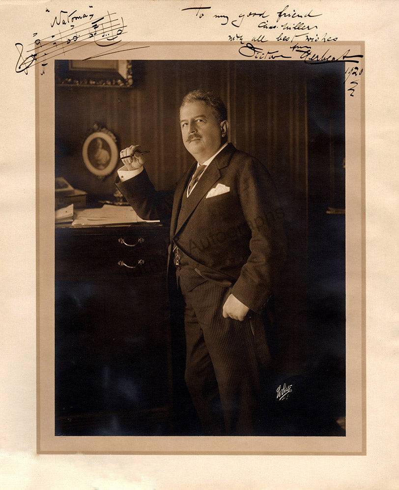 Victor Herbert signed photo with music quote