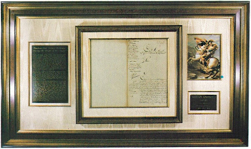 Napoleon Bonaparte autograph letter signed, with a nice print and a plaque