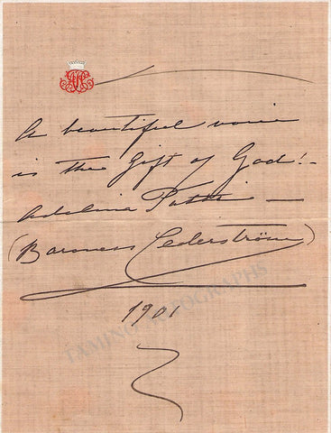 Patti, Adelina - Signed Text Quote 1901