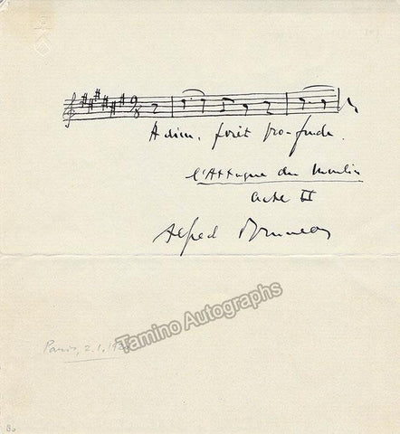 Bruneau, Alfred - Autograph Music Quote Signed
