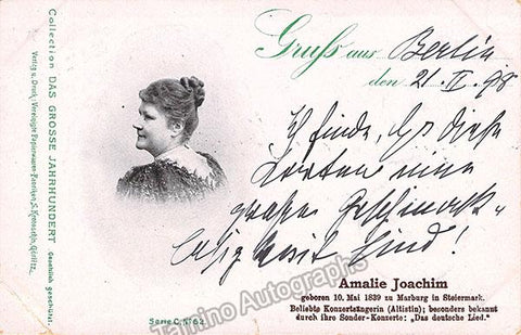 Joachim, Amalie - Signed Photo Postcard 1898