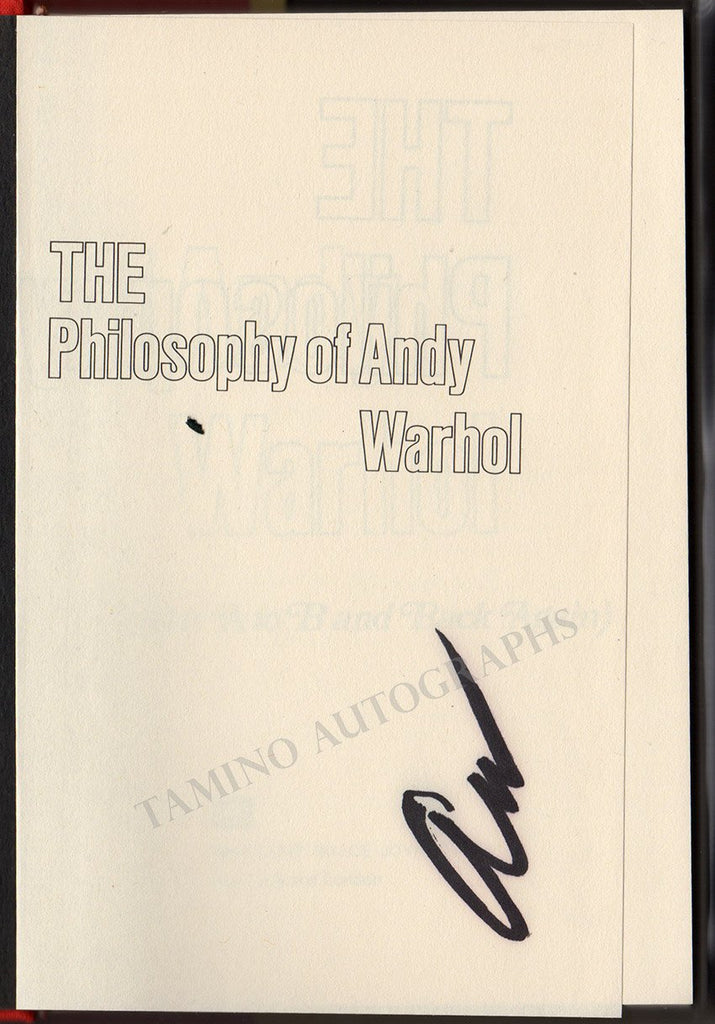 "Warhol, Andy - Signed Book ""The Philosophy of Andy Warhol"""