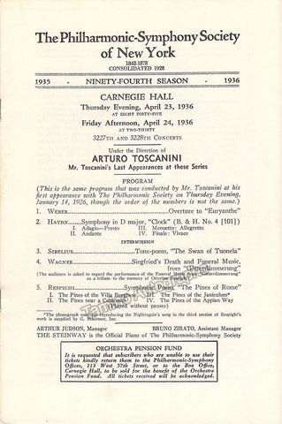 Toscanini, Arturo - Program for 2 concerts Carnegie Hall 1936