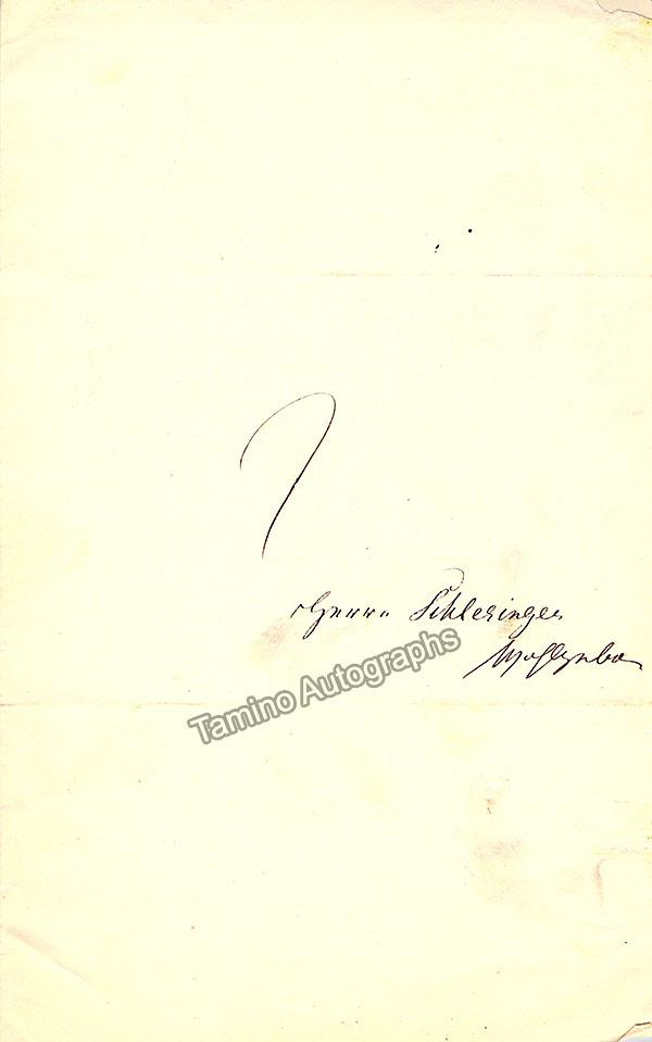 Crelinger, Auguste - Autograph Note Signed