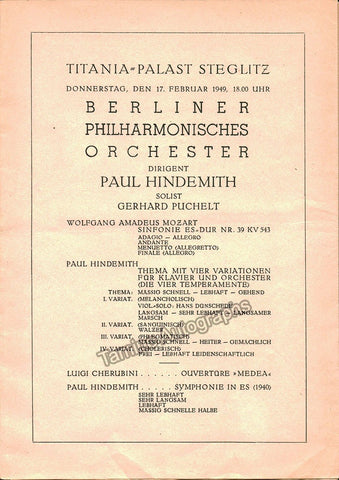Hindemith, Paul - Lot of 5 Concert Programs 1949-1957