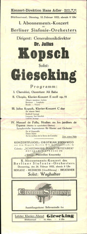 Kopsch, Julius - Concert Program Berlin 1925