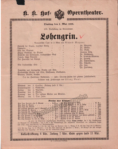 Imperial & Royal Court Opera Playbill - Lohengrin - Materna Beeth Müller 1888