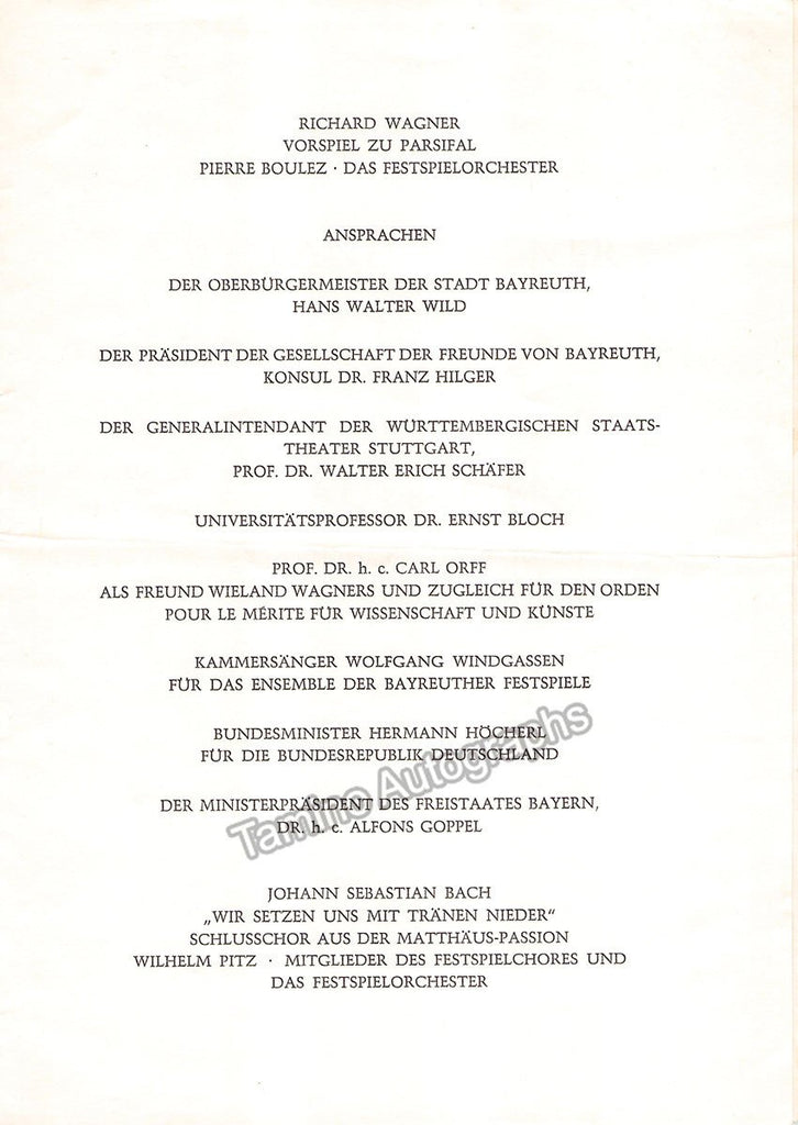 Wagner, Wieland - Official program for his Mourning Ceremony 1966