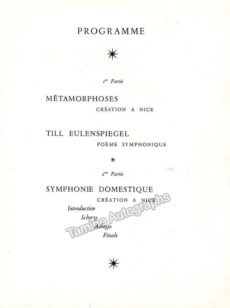 Horenstein, Jascha - Signed Program 1959