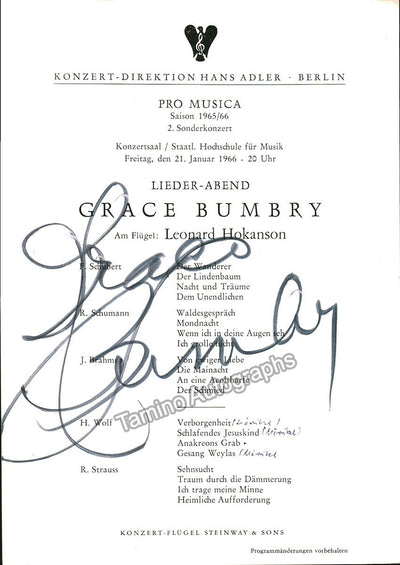 Bumbry, Grace - Signed Program Berlin 1966