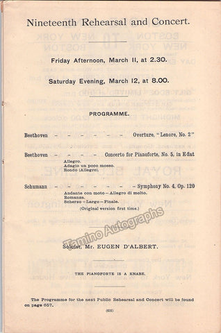 D'Albert, Eugen - Nikisch, Arthur - Boston Symphony Orch Program 1892