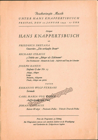 Knappertsbusch, Hans - Berlin Philharmonic Orch. Program 1943