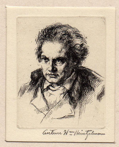 Young Beethoven - Original Etching by Arthur Heintzelman 1943